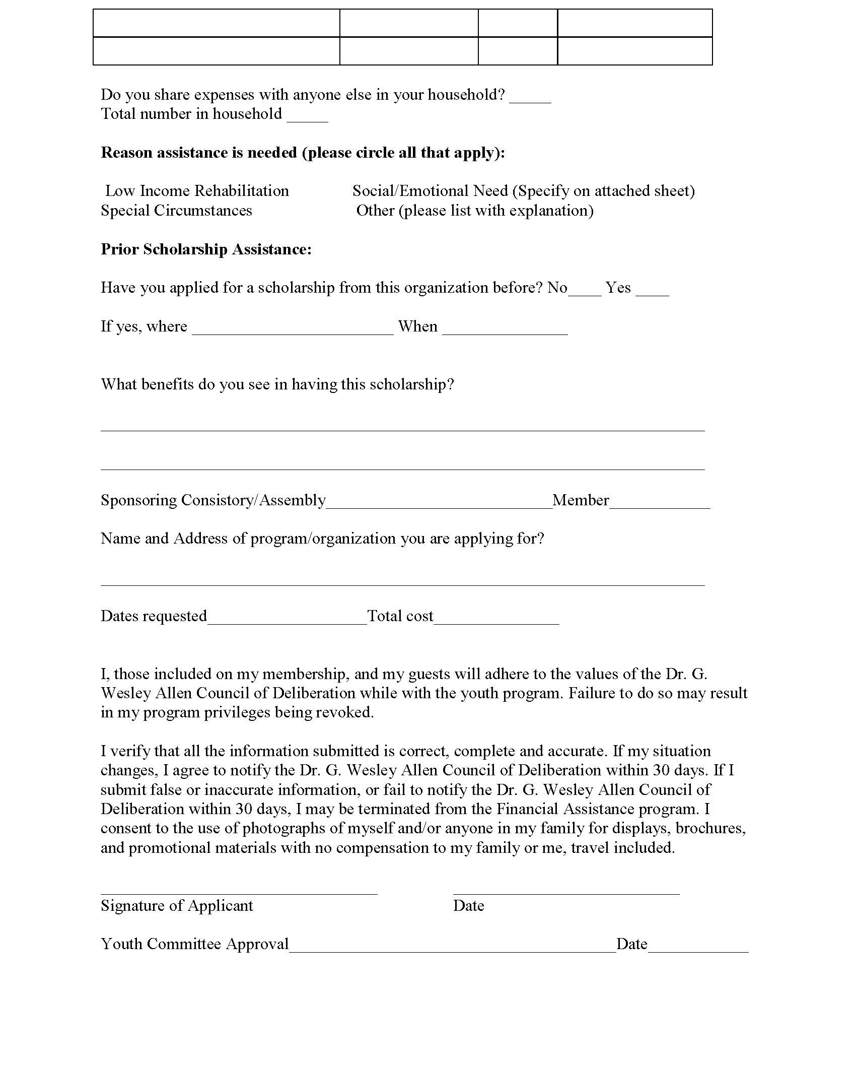 Youth Program Scholarship Application_